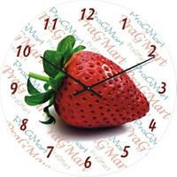 """Настенные часы на кухню """"Вкусная клубника"""" (300мм) белые бесшумные Pragmart-249-300 [Стекло]"""