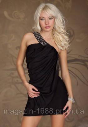 8eed1d2d737b Распродажа остатков Черное платье - туника с воланом и декором из камней  S4105-1,