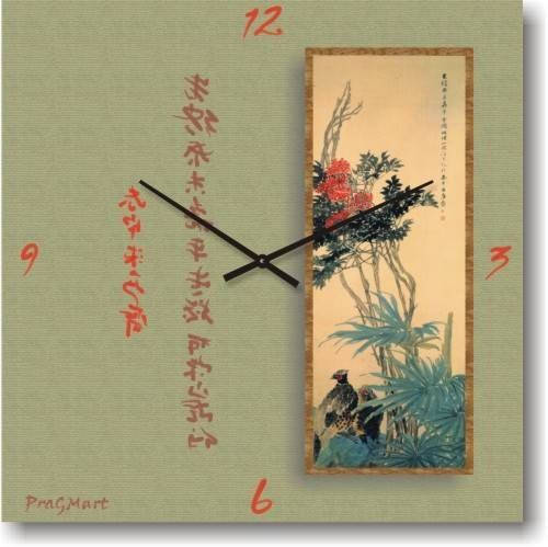 """Часы настенные """"Цветыи иероглифы"""" (300мм) [Стекло, Открытые]"""