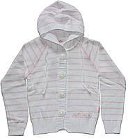 Кофта для девочки, хлопковая, белая в розовые полоски, с капюшоном, рост 140 см, Лютик