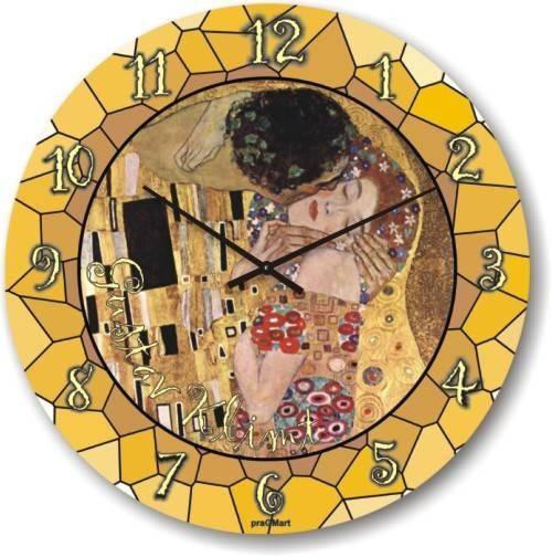 """Часы настенные большого размера """"Поцелуй - Густав Климт"""" (450мм) [Стекло, Открытые]"""