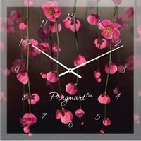 """Часы настенные """"Розовое на черном"""" (500мм) [Стекло, Открытые]"""