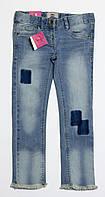 Детские модные джинсы с заплатками для девочки р.116