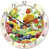 """Настенные часы на кухню """"Цитрусовый микс"""" (300мм) бесшумные Pragmart-254-300 [Стекло]"""