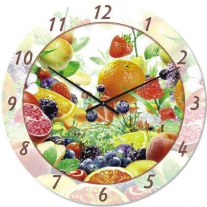 """Кухонные настенные часы """"Цитрусовый микс"""" (300мм) [Стекло, Открытые]"""