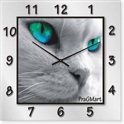 """Часы настенные """"Белый кот"""" (300мм) [Стекло, Открытые]"""