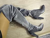 Женские велюровые ботфорды на удобном каблуке (серый)