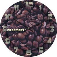 """Настенные часы на кухню """"Зерна кофе"""" (300мм) коричневые бесшумные Pragmart-261-300 [Стекло]"""