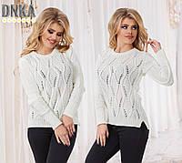 Модный белый вязаный свитер с ромбами. Арт-9630/35