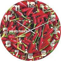 """Настенные часы на кухню """"Огонек"""" (300мм) красные бесшумные Pragmart-262-300 [Стекло]"""