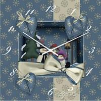 """Большие настенные часы """"Зимний праздник"""" (500мм) [Стекло]"""