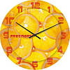 """Кухонные настенные часы """"Сочный апельсин"""" (450мм) [Стекло, Открытые]"""