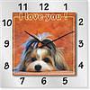 """Часы настенные """"I love you!"""" (450мм) [Стекло, Открытые]"""