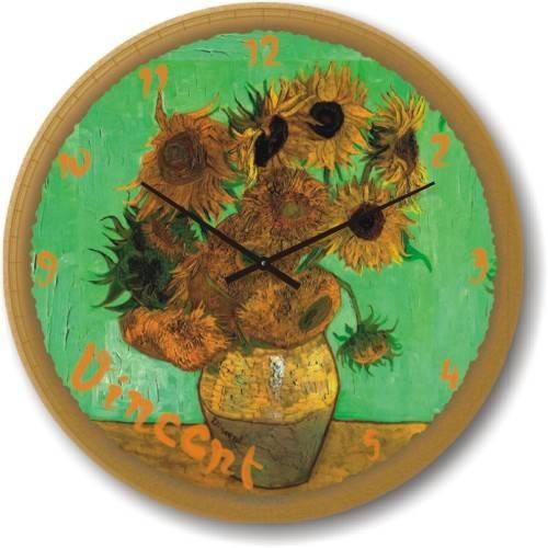 """Часы настенные """"Подсолнухи (зеленый) - Винсент Ван Гог"""" (300мм) [Стекло, Открытые]"""