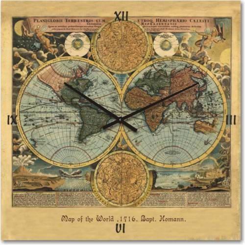 """Часы настенные большого размера """"Карта мира"""" (450мм) [Стекло, Открытые]"""