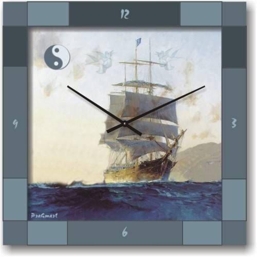 """Часы настенные """"Парусник на волнах"""" (300мм) [Стекло, Открытые]"""