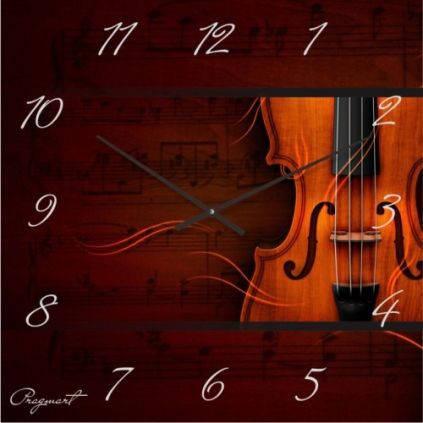 """Большие настенные часы """"Скрипка и музыка"""" (500мм) [Стекло, Открытые]"""