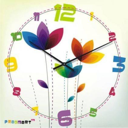 """Настенные часы в детскую комнату """"Цветной микс"""" (300мм) [Стекло, Открытые]"""