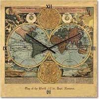 """Часы настенные """"Карта мира"""" (300мм) [Стекло, Открытые]"""