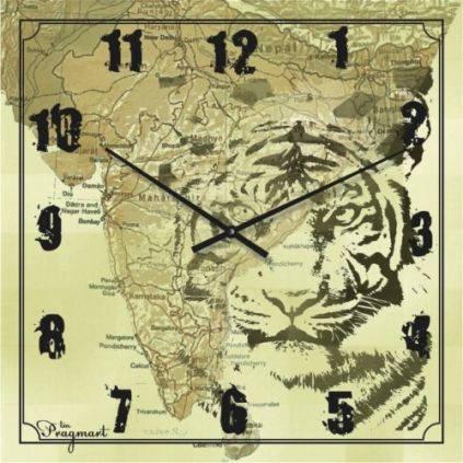 """Часы настенные большого размера """"Карта с тигром"""" (450мм) [Стекло, Открытые]"""