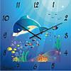 """Настенные часы в детскую комнату """"Дельфин"""" (350мм) [Стекло, Открытые]"""