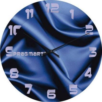 """Необычные настенные часы """"Синий шелк, синие"""" [Стекло, Открытые]"""