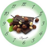 """Кухонные настенные часы """"Фундук и шоколад"""" (350мм) [Стекло, Открытые]"""
