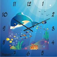"""Настенные часы в детскую комнату """"Дельфин"""" (300мм) синие бесшумные Pragmart-417-300 [Стекло]"""