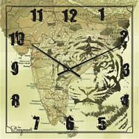 """Часы настенные модерн """"Карта, тигр"""" (300мм)  бежевые PraGMart-396-300 [Стекло, Открытые]"""