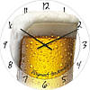 """Настенные часы в столовую """"Бокал пива"""" (300мм) [Стекло, Открытые]"""