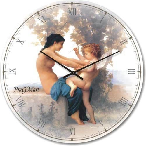 """Часы настенные большого размера """"Девушка, сопротивляющаяся Купидону - Вильям Адольф Бугро"""" (450мм) [Стекло, Открытые]"""