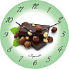 """Настенные часы в столовую """"Фундук и шоколад"""" (300мм) [Стекло, Открытые]"""