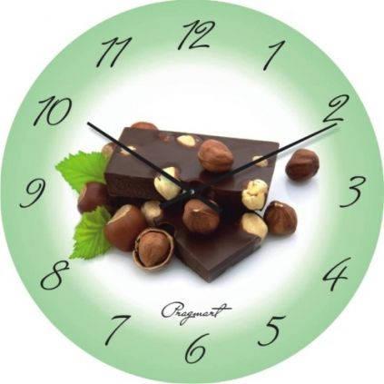"""Кухонные настенные часы """"Фундук и шоколад"""" (300мм) [Стекло, Открытые]"""