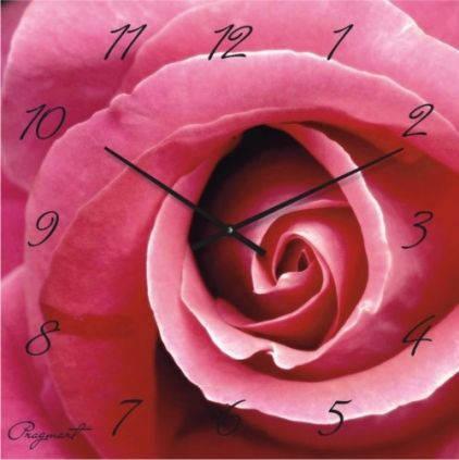 """Большие настенные часы """"Розовая роза"""" (500мм) [Стекло, Открытые]"""