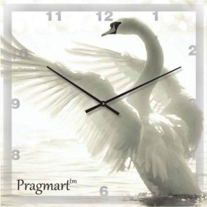 """Часы настенные """"Белый лебедь"""" (300мм) [Стекло, Открытые]"""
