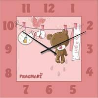 """Настенные часы в детскую комнату """"Мишутка для девочки"""" (300мм) розовые бесшумные Pragmart-418-300 [Стекло]"""