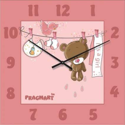 """Настенные часы в детскую комнату """"Мишутка для девочки"""" (300мм) [Стекло, Открытые]"""