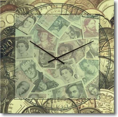 """Часы настенные большие """"Money-money"""" (450мм) [Стекло, Открытые]"""
