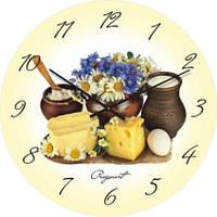 """Кухонные настенные часы """"Молочный натюрморт"""" (450мм) [Стекло, Открытые]"""