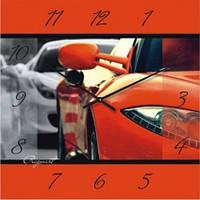 """Настенные часы в детскую комнату """"Шикарное авто"""" (300мм) красные бесшумные Pragmart-385-300 [Стекло]"""
