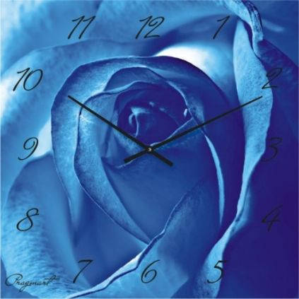 """Большие настенные часы """"Голубая роза"""" (500мм) [Стекло, Открытые]"""