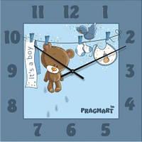 """Настенные часы в детскую комнату """"Мишутка для мальчика"""" (300мм) бесшумные Pragmart-419-300 [Стекло]"""