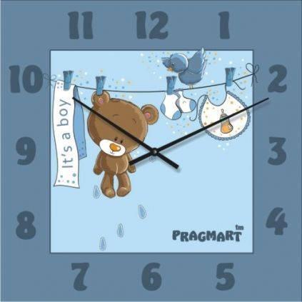 """Часы настенные детские """"Мишутка для мальчика"""" (300мм) [Стекло, Открытые]"""