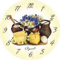 """Кухонные настенные часы """"Молочный натюрморт"""" (300мм) [Стекло, Открытые]"""