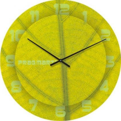 """Большие настенные часы """"Структура листа"""" (450мм) [Стекло, Открытые]"""