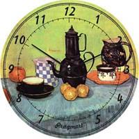 """Часы настенные модерн """"Натюрморт, Винсент Ван Гог"""" (300мм)  зеленые PraGMart-232-300 [Стекло, Открытые]"""