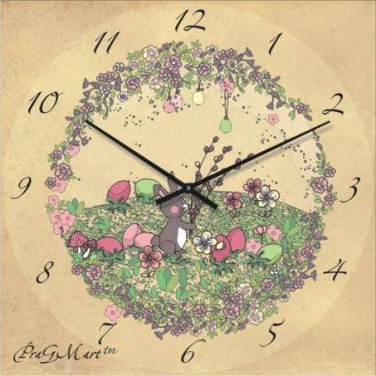"""Часы настенные детские """"Зайчик на поляне"""" (450мм) [Стекло, Открытые]"""