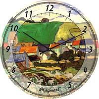 """Часы настенные большого размера """"Пейзаж - Винсент Ван Гог"""" (450мм) [Стекло, Открытые]"""