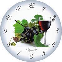 """Кухонные настенные часы """"Винный натюрморт"""" (350мм) [Стекло, Открытые]"""