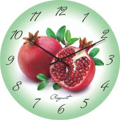 """Настенные часы в кухню """"Спелый гранат"""" (450мм) [Стекло, Открытые]"""